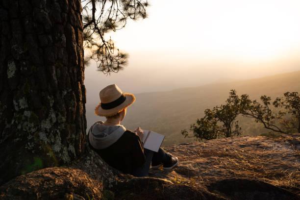 坐在松樹下閱讀和寫作的婦女望著美麗的自然景觀 - 寫 個照片及圖片檔