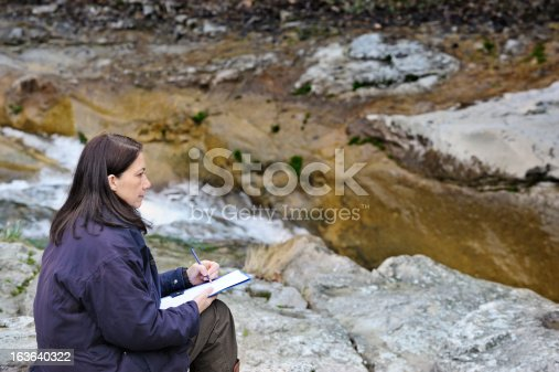 611108702 istock photo Woman sketching outdoors 163640322