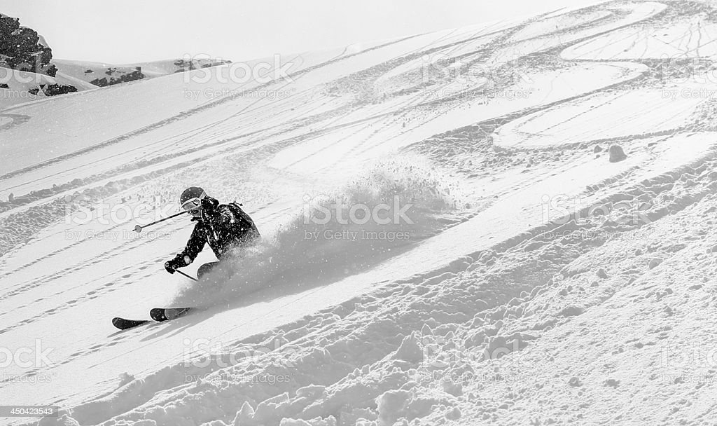 Woman skier in deep snow stock photo