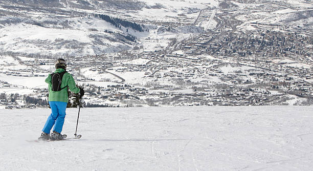 woman skiing above Steamboat Springs, Colorado stock photo
