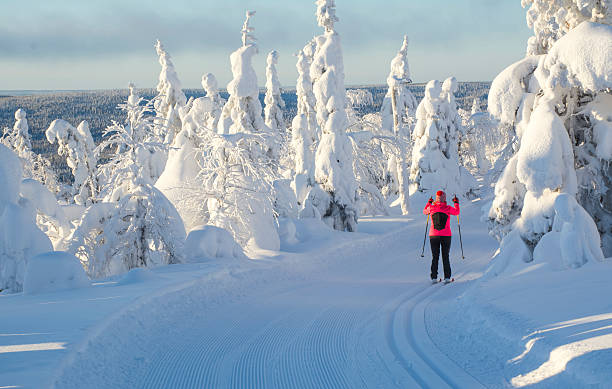 Woman skiing in Lapland Finland stock photo