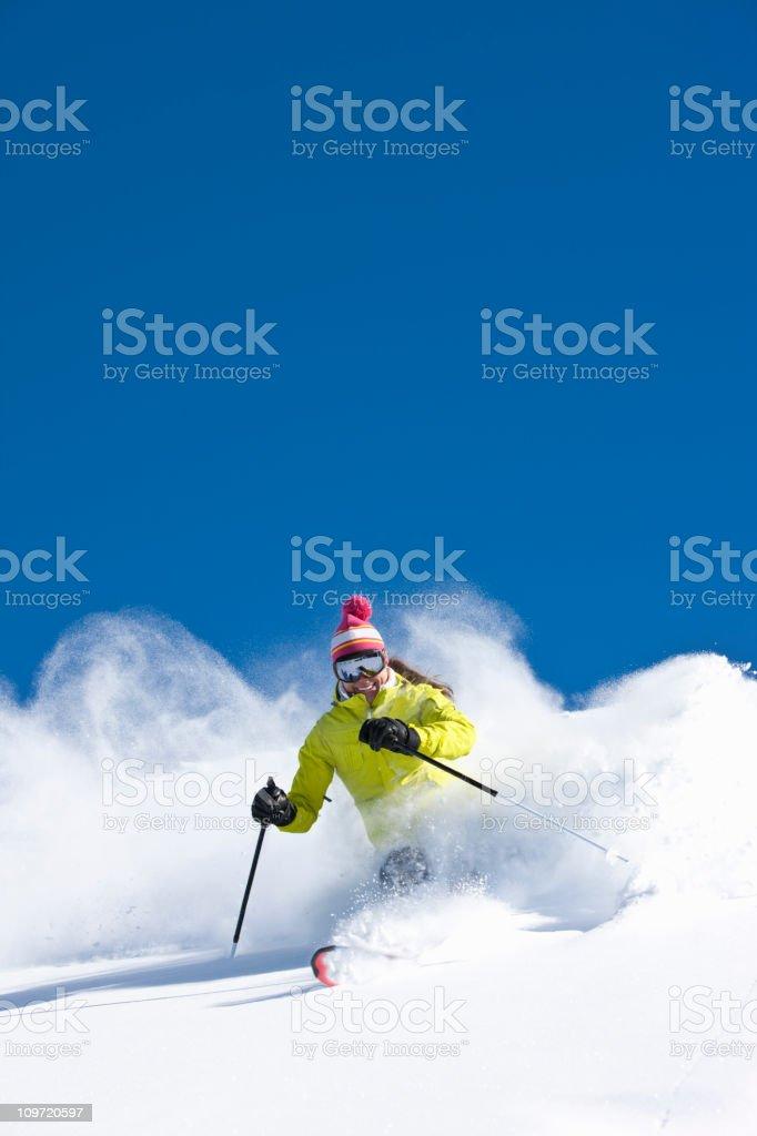 Woman skiing stock photo