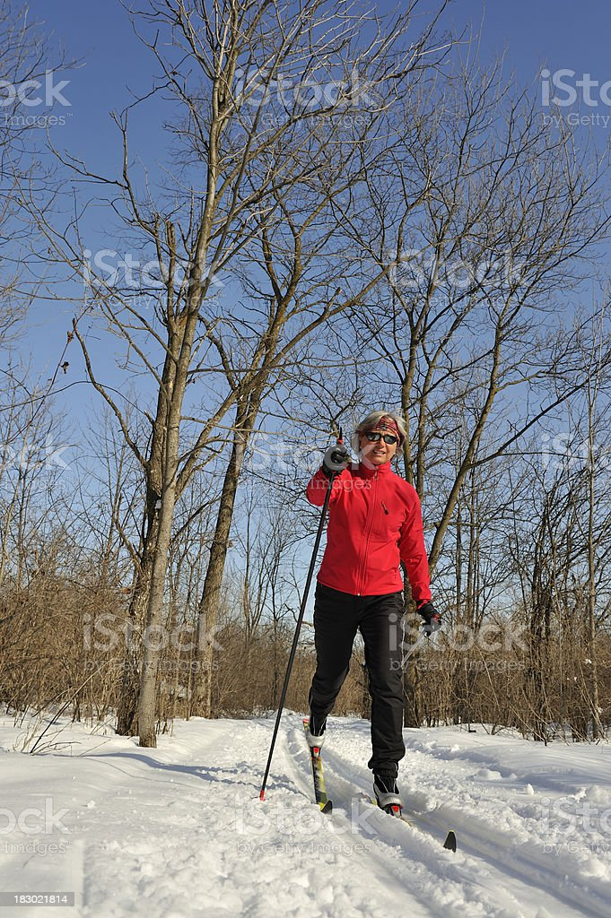 Woman skiing, winter sport royalty-free stock photo