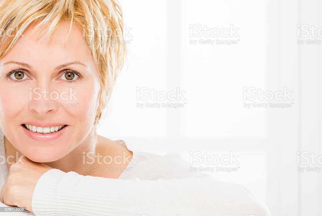 Woman, skin care and wrinkles. stock photo
