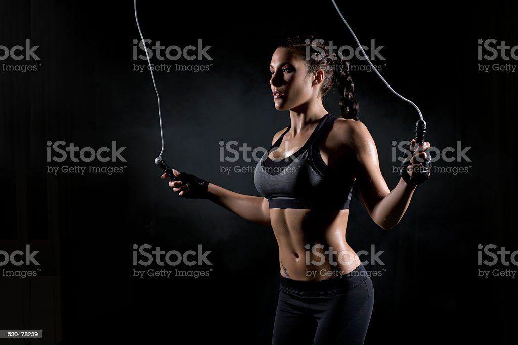 woman skipping stock photo