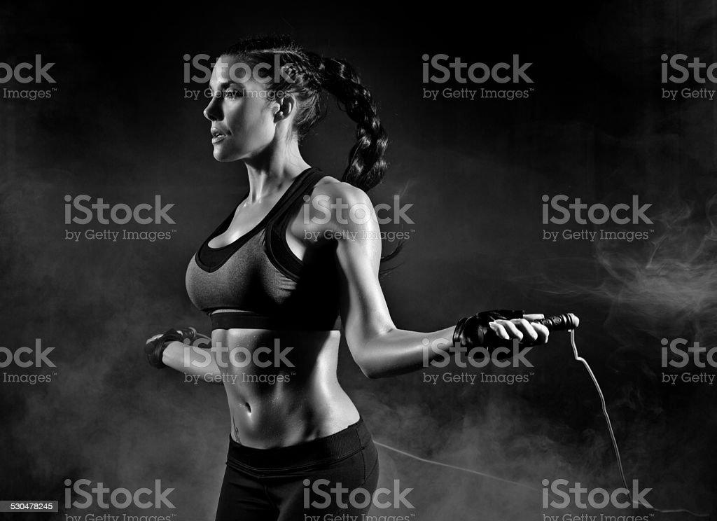 woman skipping stock photo