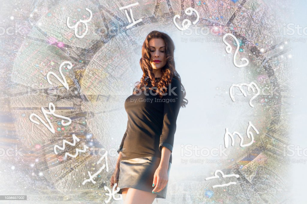 Woman, sky and astrological zodiac signs stock photo