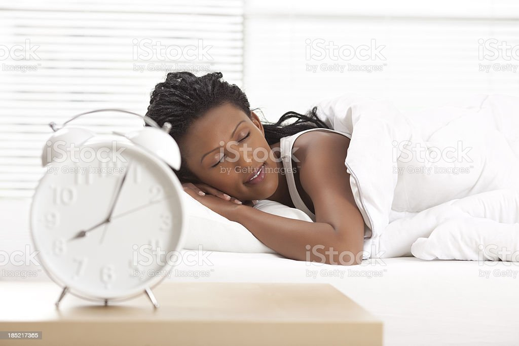 Woman sleeping peacefully. stock photo