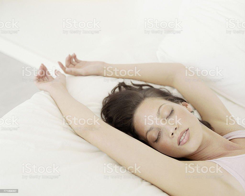 A woman sleeping stock photo