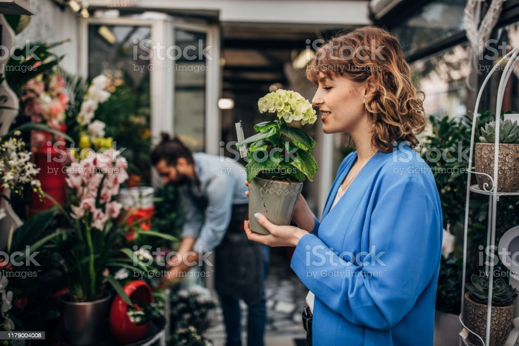 Young woman smelling flower at the flower shop. Male florist is...