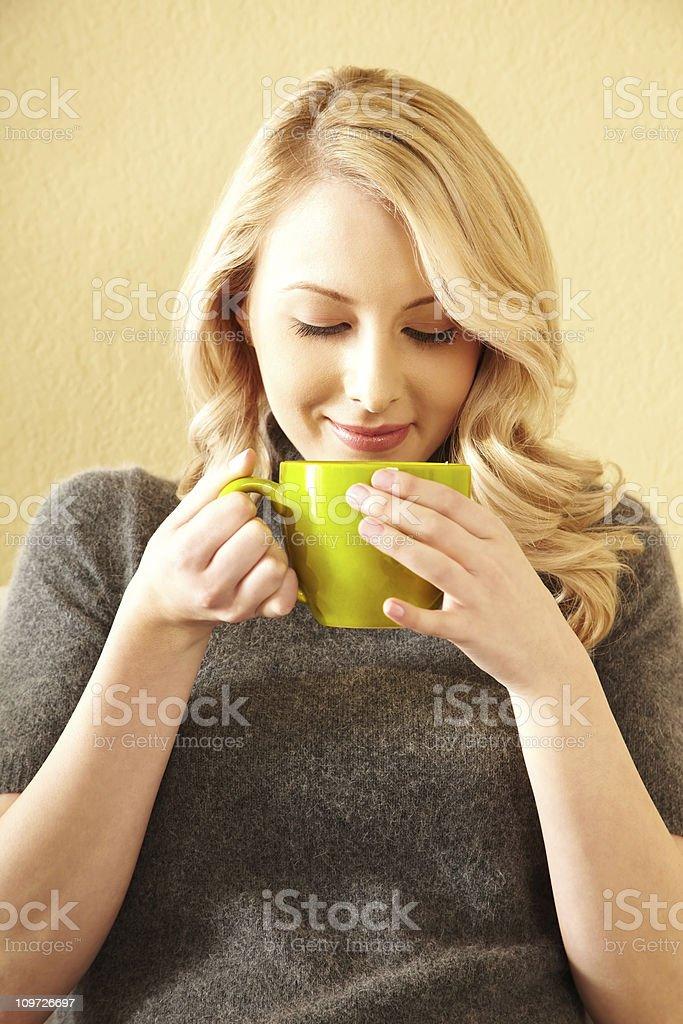 Woman smelling green tea royalty-free stock photo