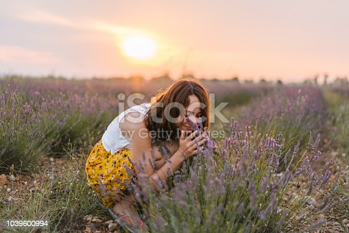 Young Caucasian woman in yellow skirt  smelling lavender on the  field in Provence, France