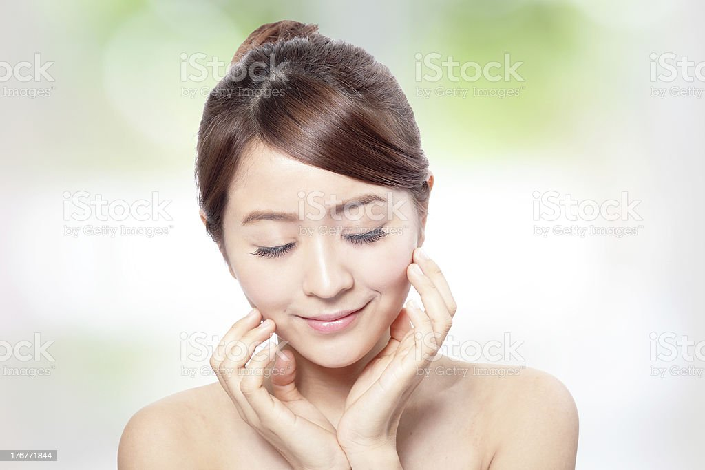 woman smile face with health skin and eye care concept royalty-free stock photo