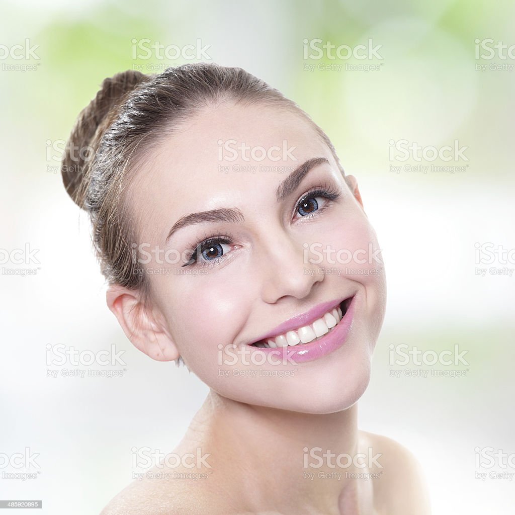 woman smile face with health teeth close up royalty-free stock photo
