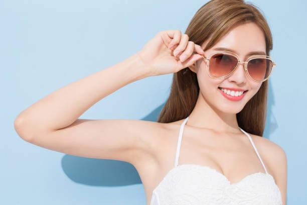 woman smile happily stock photo