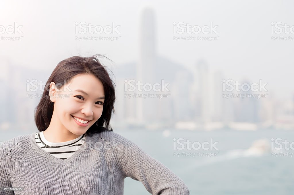 woman smile  in hongkong photo libre de droits