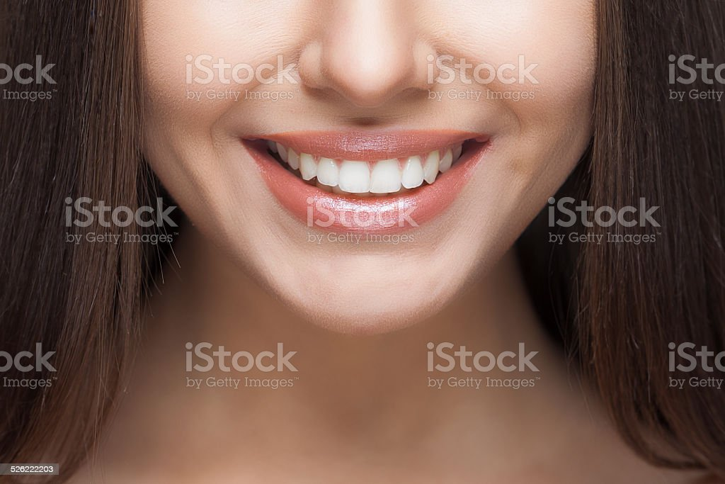 Woman smile. Teeth whitening. Dental care. stock photo