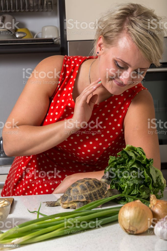 Woman smiles and observes tortoise who is eating stock photo