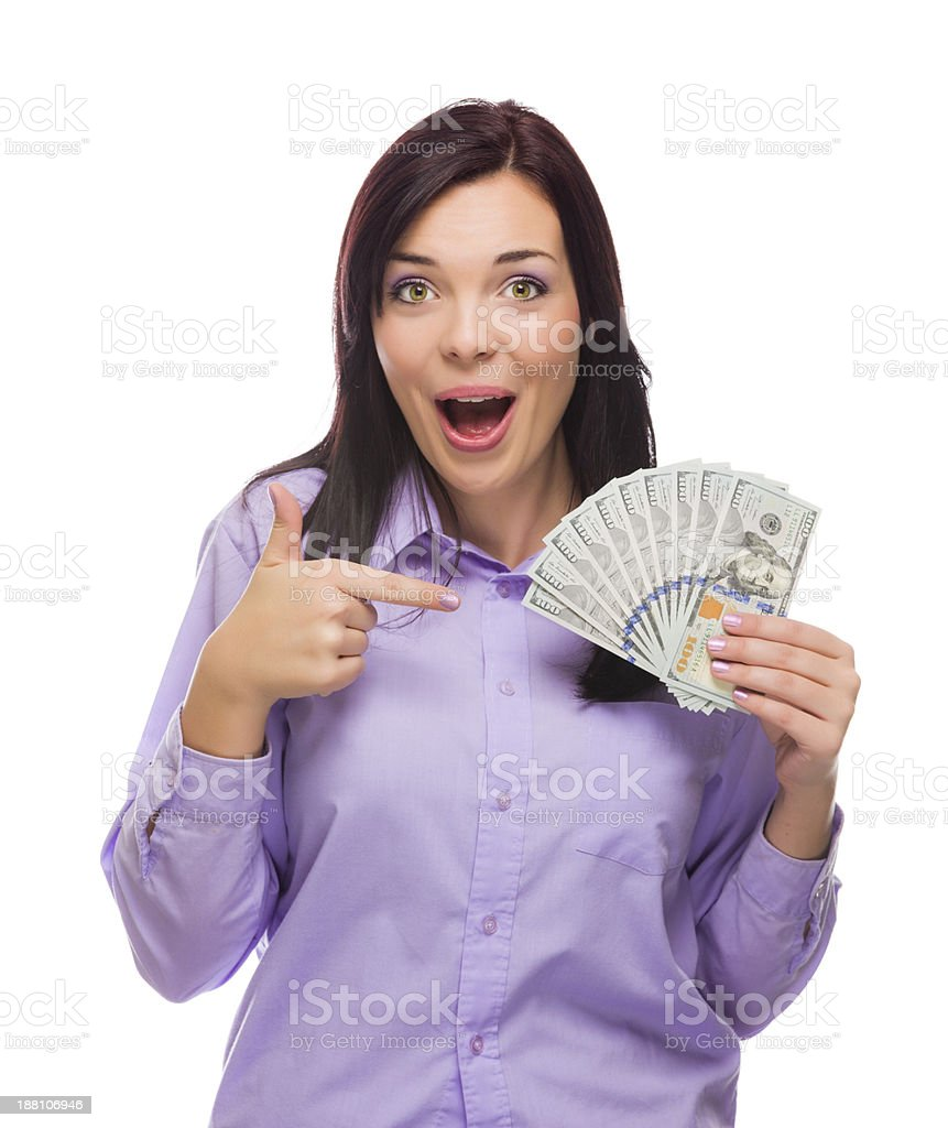 Woman smiling and holding the new one hundred dollar bills stock photo