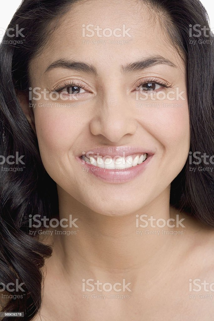 Woman smiling, close-up photo libre de droits