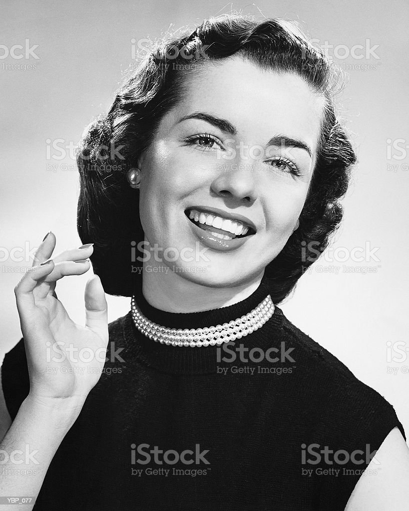 Woman smiling royalty free stockfoto