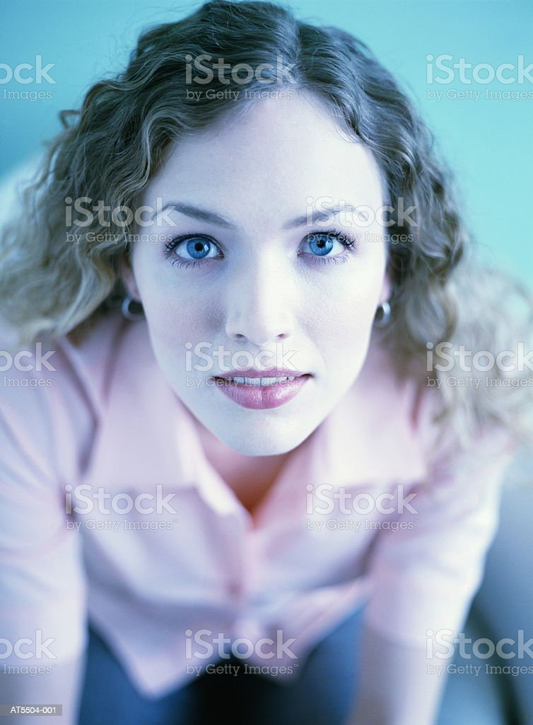Woman smiling, portrait (elevated view) royalty free stockfoto
