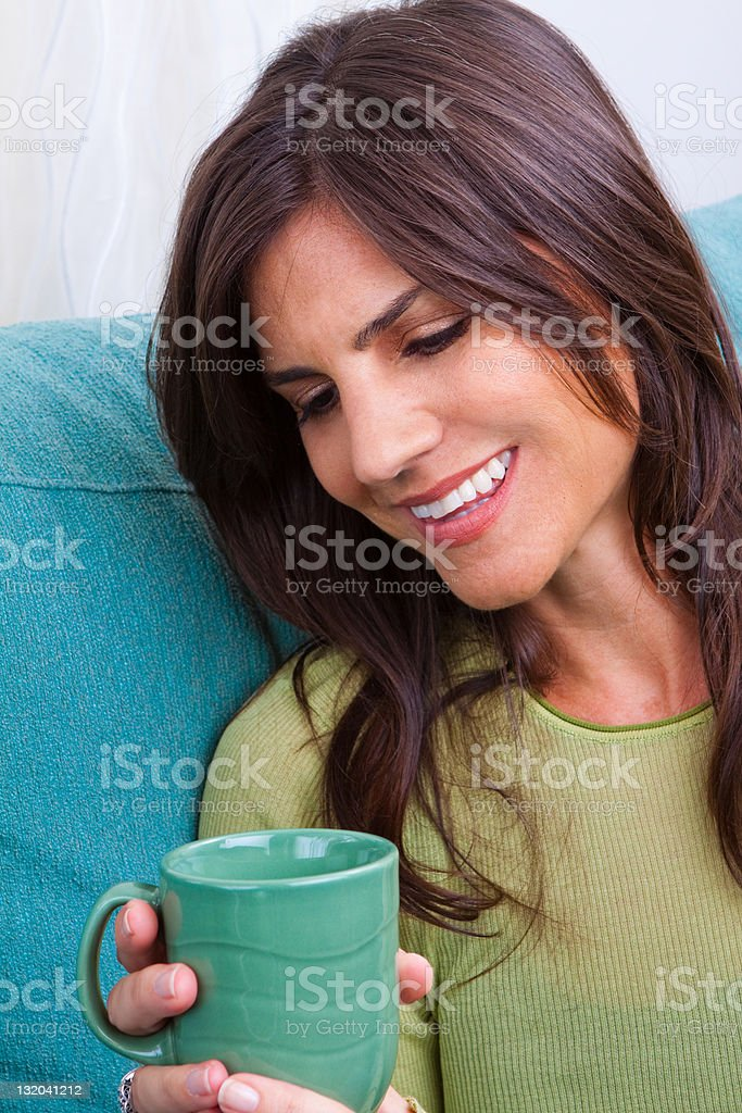 Woman Smiling With Coffee royalty-free stock photo
