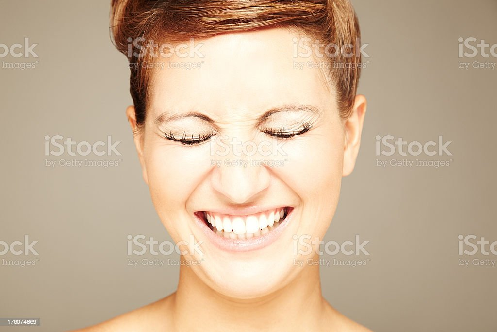 Woman Smiling With Eyes Closed royalty-free stock photo