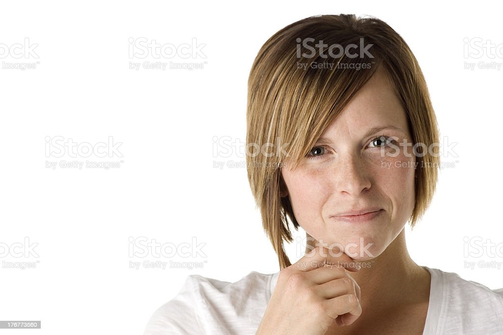 Woman Smiling with Hand on Chin royalty-free stock photo