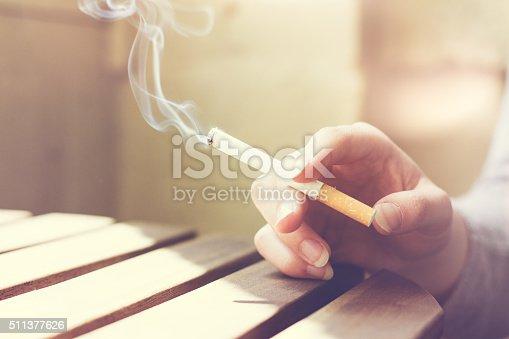 istock Woman smoker smoking a filter tip 511377626