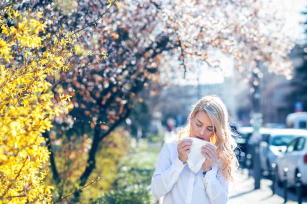 frau niest im blühenden garten - heuschnupfen stock-fotos und bilder