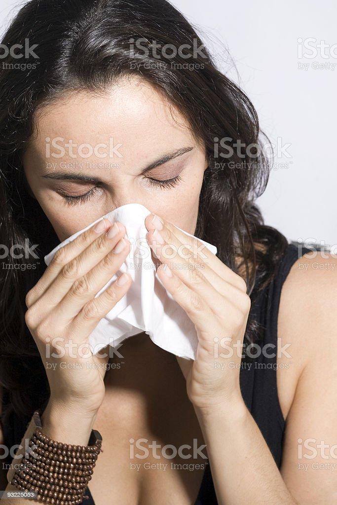 Woman Sneezing stock photo