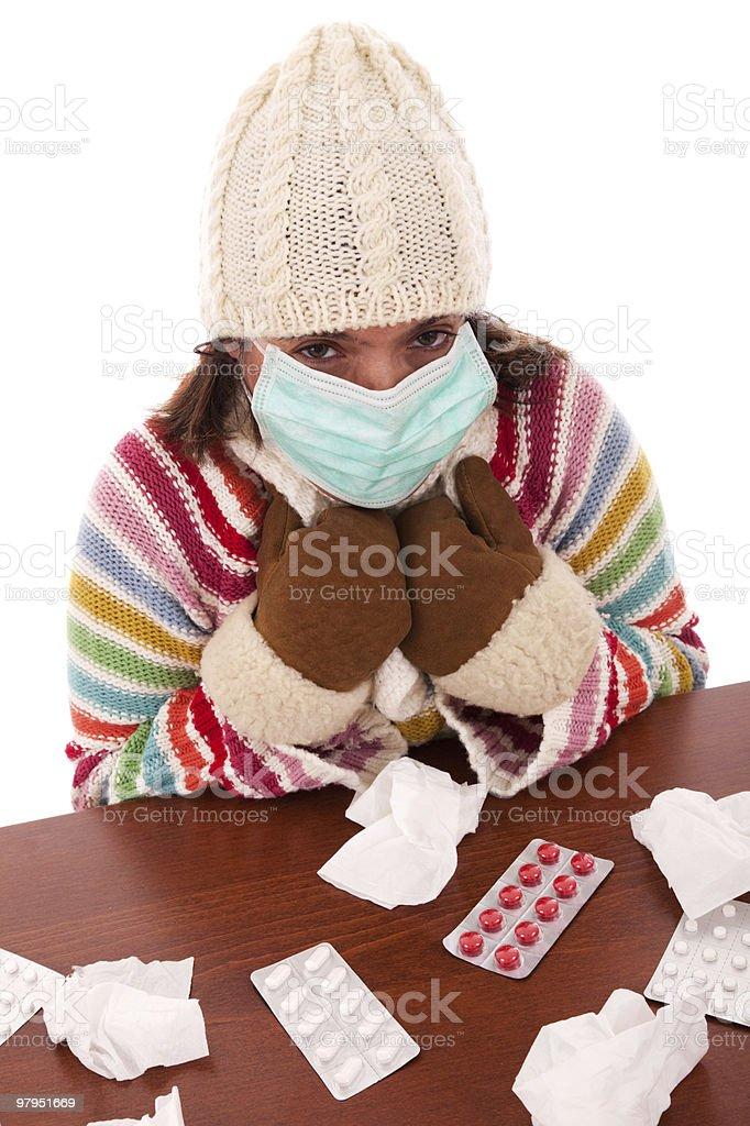 woman sneezing to a tissue royalty-free stock photo