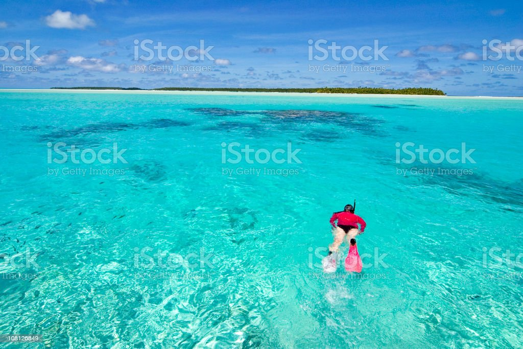 A woman snorkeling in the reefs royalty-free stock photo