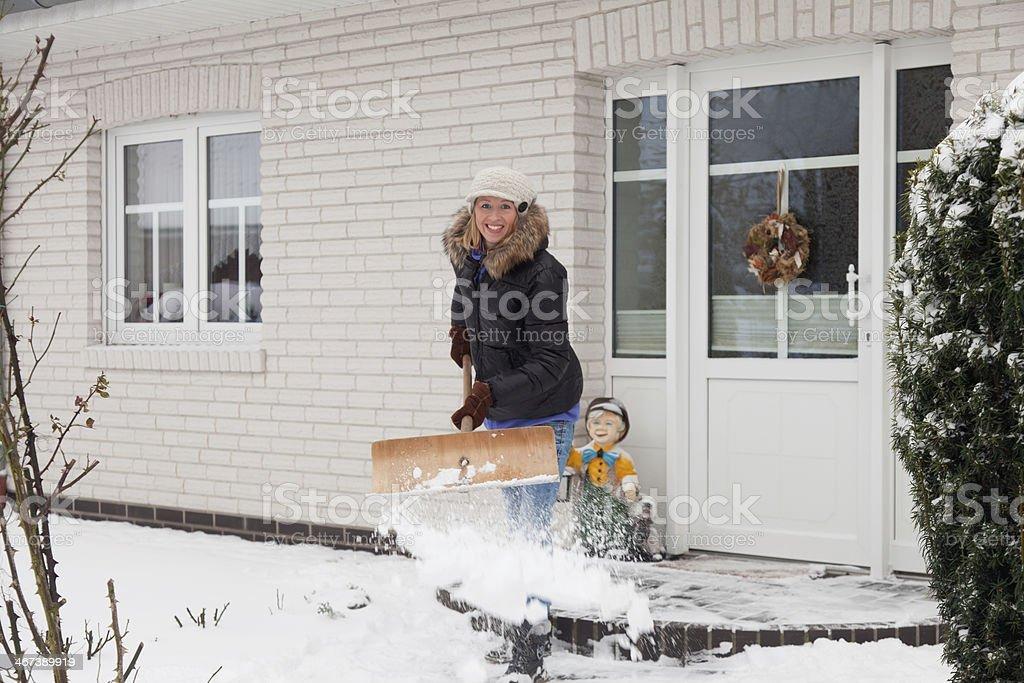 woman snow stock photo