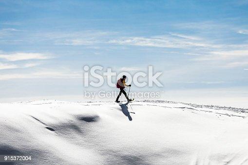 istock Woman snowshoeingon snow field 915372004