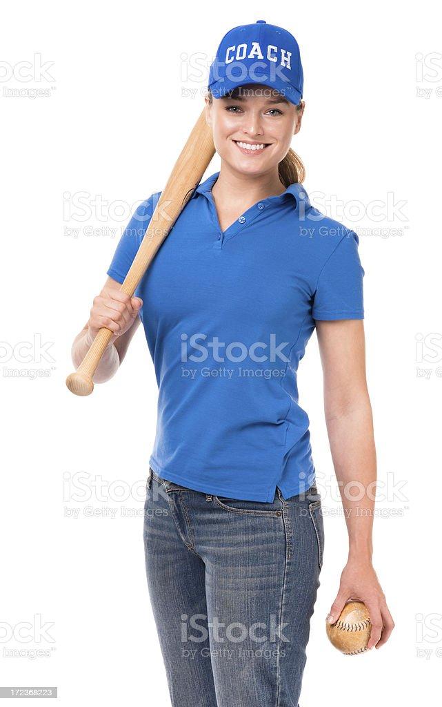 Woman ソフトボールバットボールのコーチ、白背景 ストックフォト