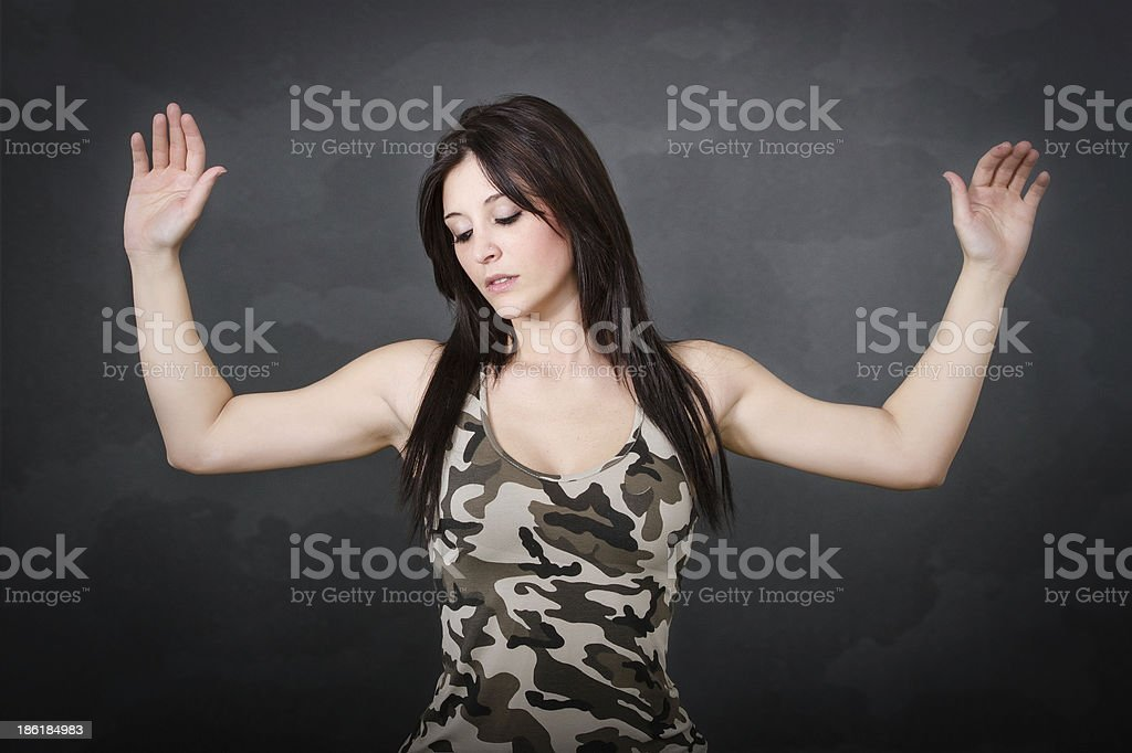 woman soldier capitulation royalty-free stock photo