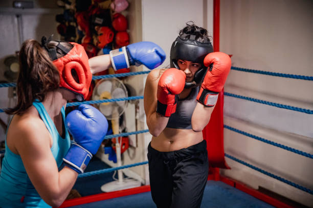 Woman Sparing stock photo