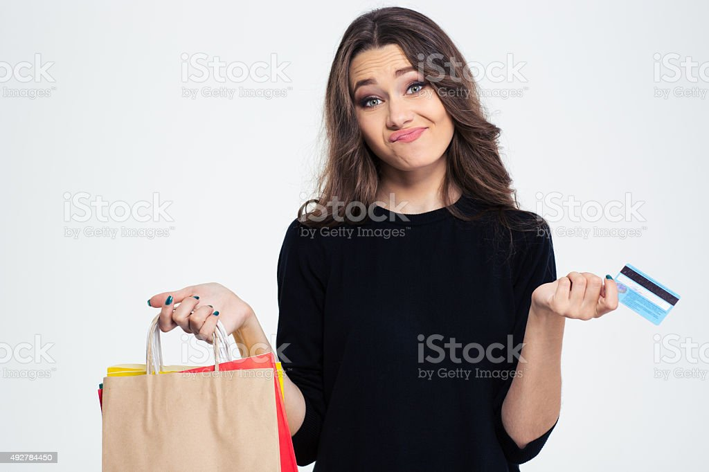 Woman spent all money from the bank card stock photo