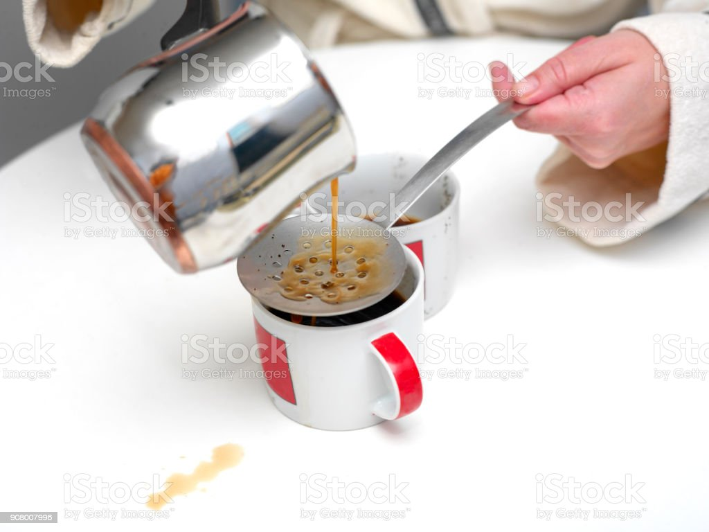 Woman Spilling Coffee stock photo