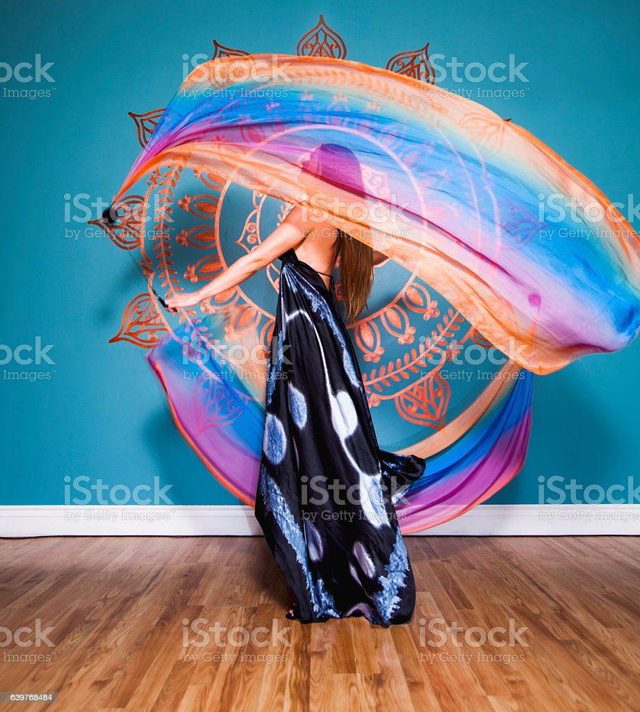 Woman Spinning Voi stock photo