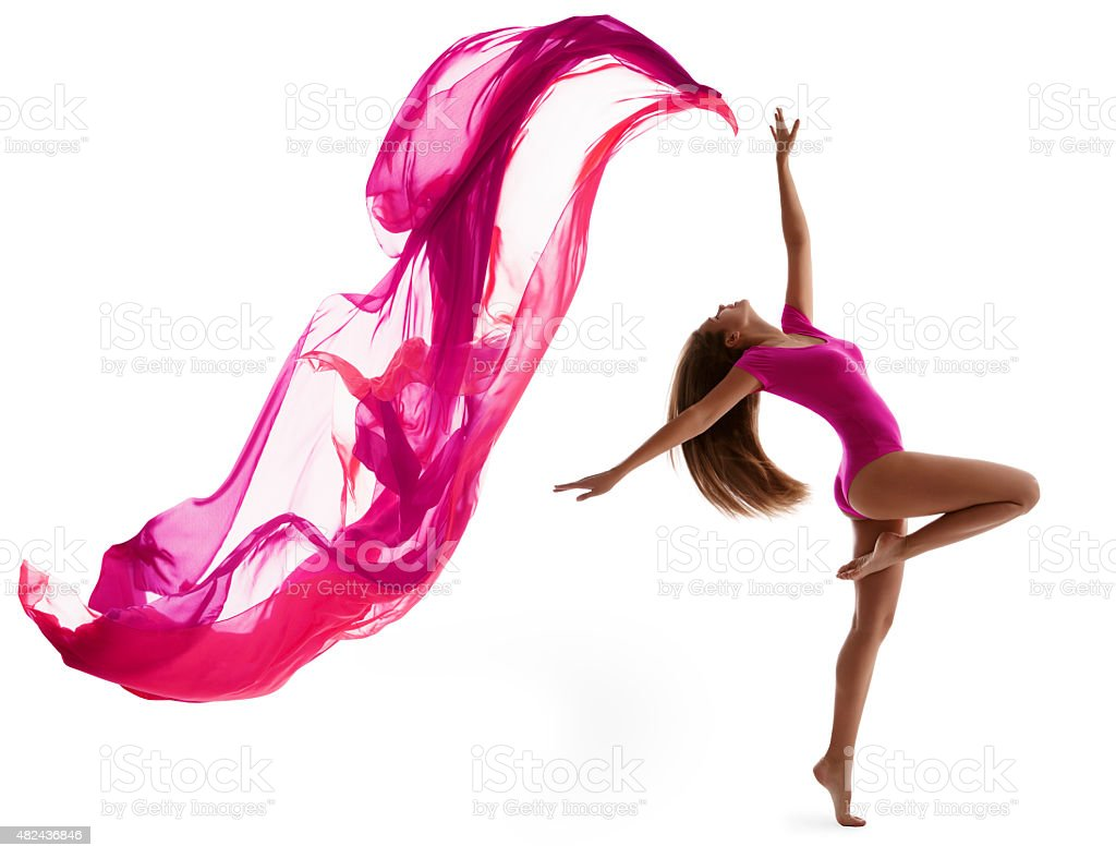 Woman Sport Dancing, Sexy Girl Dancer Flying Cloth Fabric, White stock photo