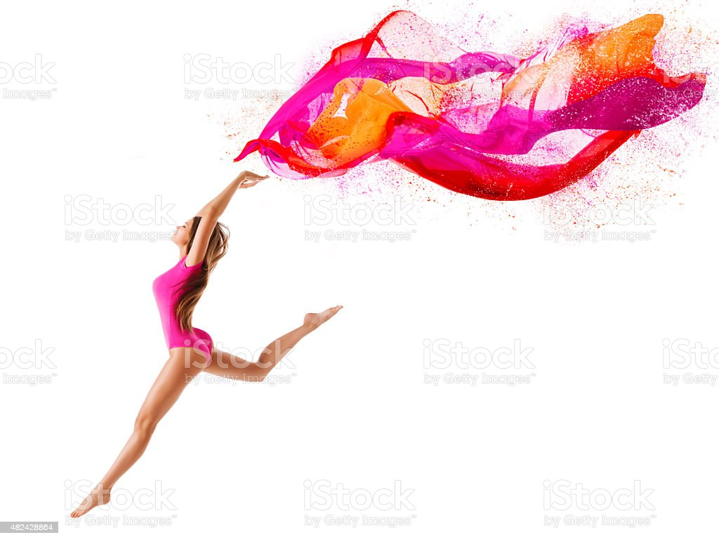 Woman Sport Jump, Girl Dancer Fly Pink Cloth, Gymnast White stock photo