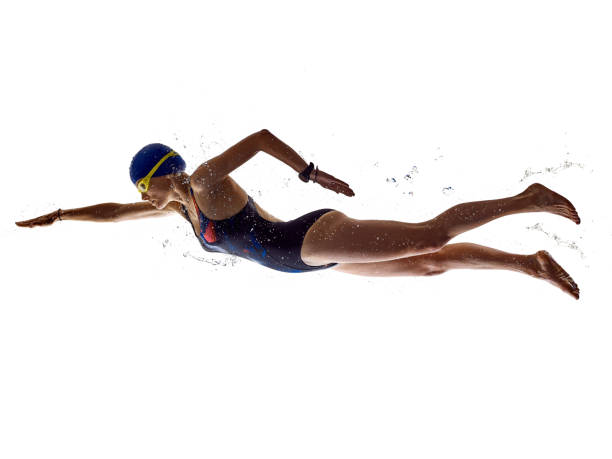 woman sport swimmer swimming isolated white background stock photo