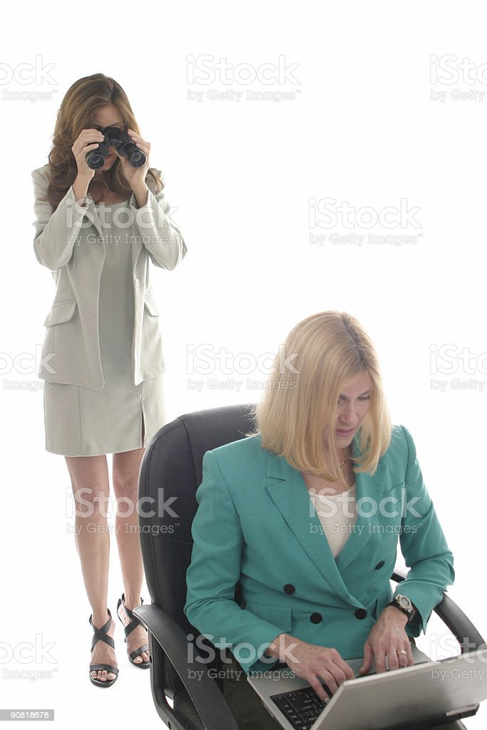 Woman Spying On Fellow Worker royalty-free stock photo