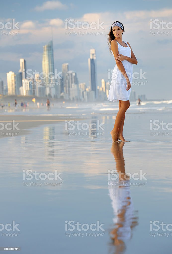 Woman standing at the Gold Coast, Australia stock photo