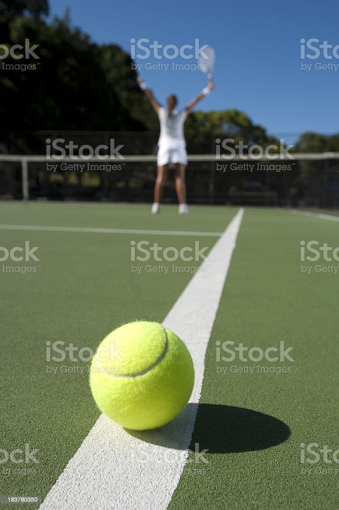 Woman standing at the net with arms raised royalty-free stock photo