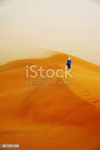 istock Woman standing barefoot on the dune in the desert 821352490