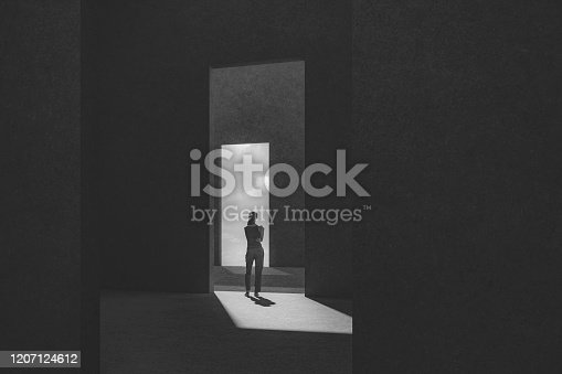 Woman standing between passages. This is entirely 3D generated image.